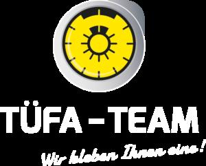 TÜFA-TEAM Logo - Gelbe Plakette, weiße Schrift